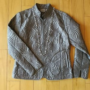 Chico's silver quilted jacket